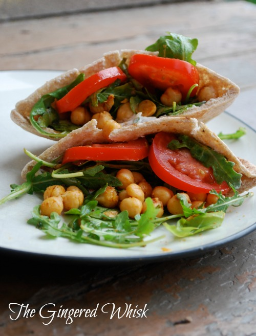 Fried Chickpea and Arugula Pitas with Lime Tzatziki