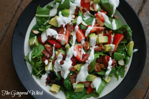 Strawberry, Avocado and Bacon Salad with Creamy Dressing (The Gingered Whisk)