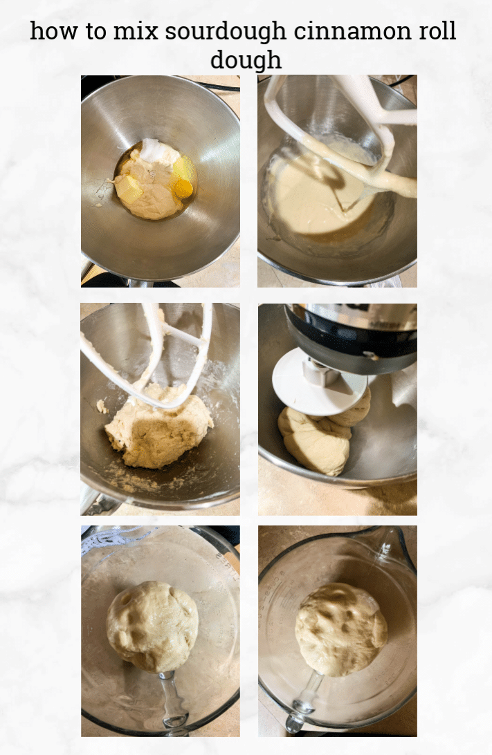 collage showing steps to make sourdough cinnamon rolls