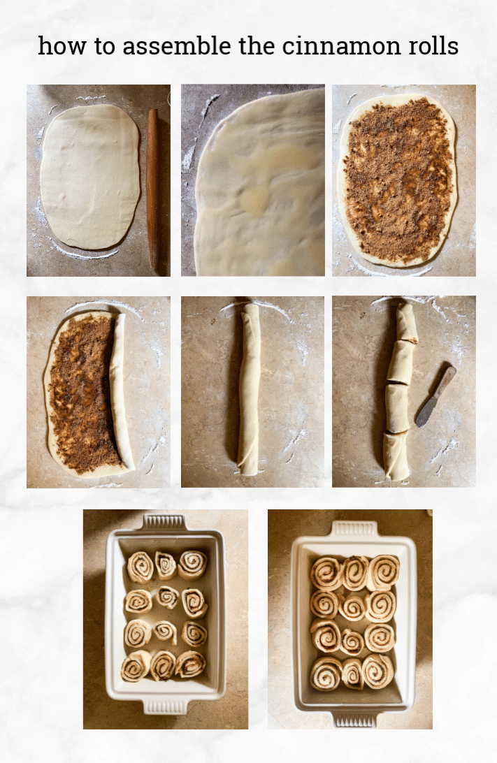 collage showing steps on how to assemble sourdough cinnamon rolls