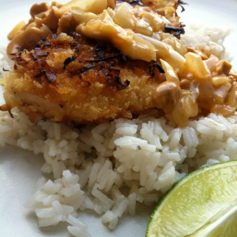 Coconut Crusted Chicken with Cashew Curry Sauce