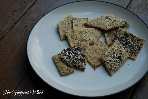 Sourdough Crackers with everything topping on plate