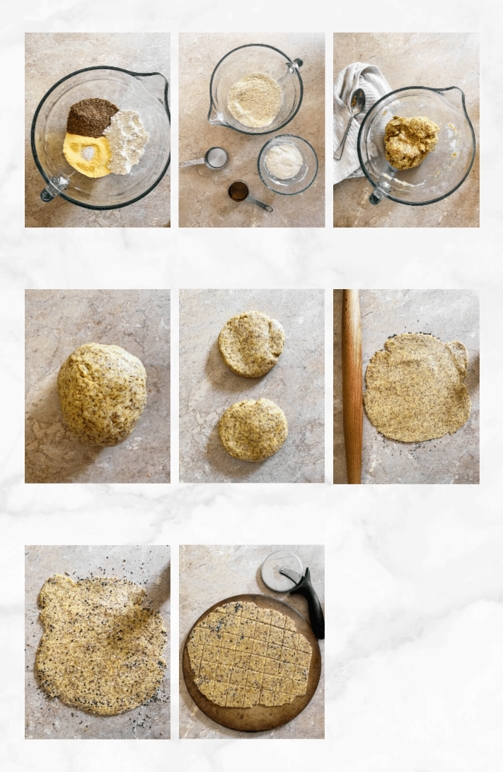 collage showing steps to make sourdough crackers