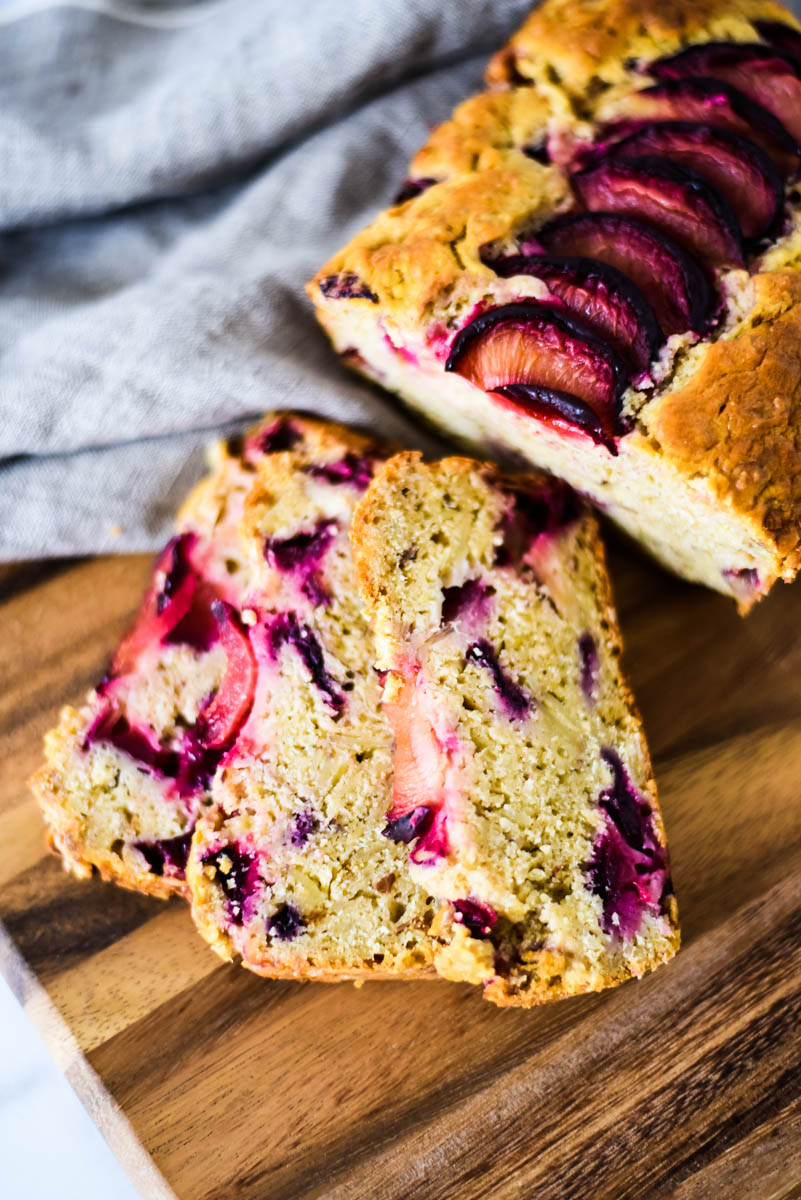 close up of sourdough quick bread with plums