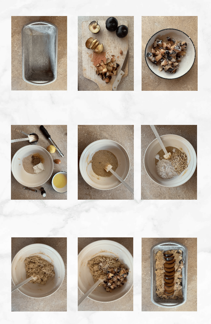 collage of images showing steps to make sourdough quick bread