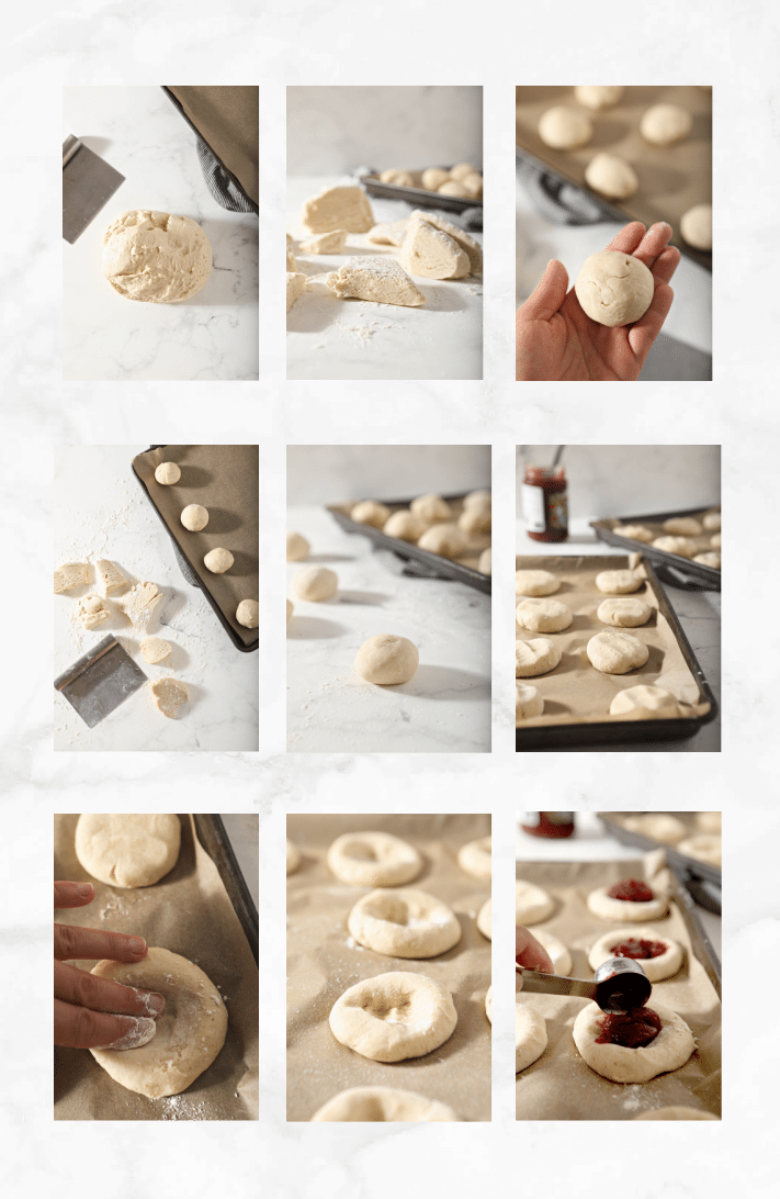 collage showing how to shape kolache pastries