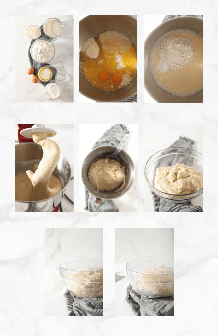 collage showing steps to make kolaches dough