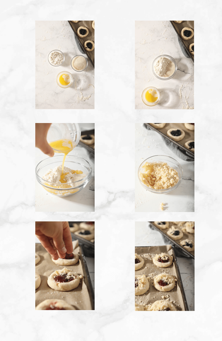 collage showing steps to make and bake kolaches