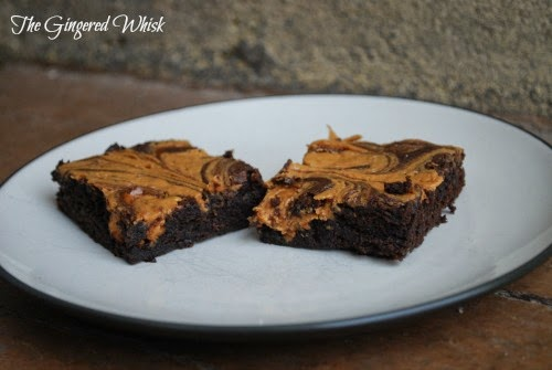 two Chocolate Stout & Peanut Butter Swirled Brownies on white plate