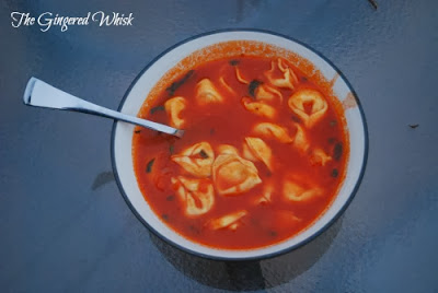 Quick Tomato Basil Soup with Cheese Tortellini - The Gingered Whisk