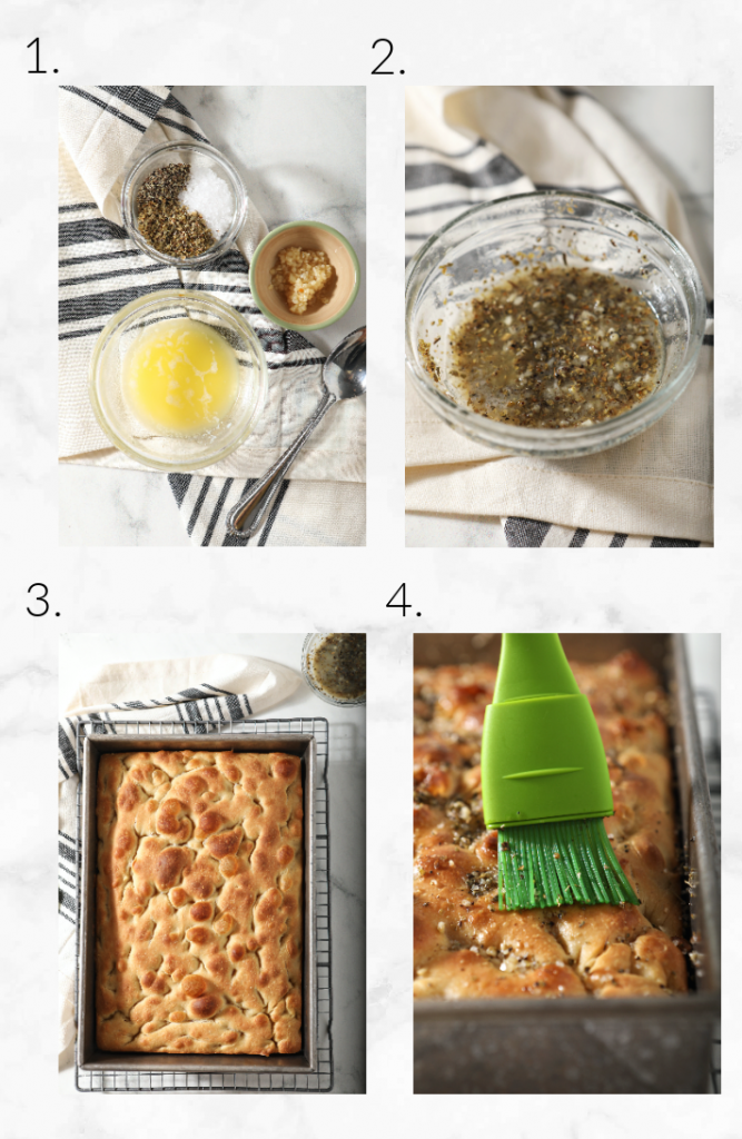 collage showing focaccia topping