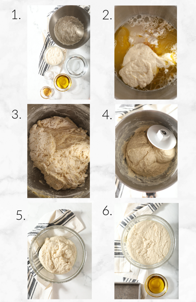collage showing mixing focaccia dough