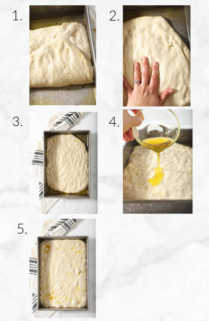 collage showing folding focaccia