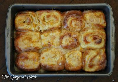 pan with lemon cream cheese sweet rolls