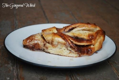 slice of twisted cinnamon sweet bread on white plate