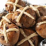 sourdough hot cross buns on plate