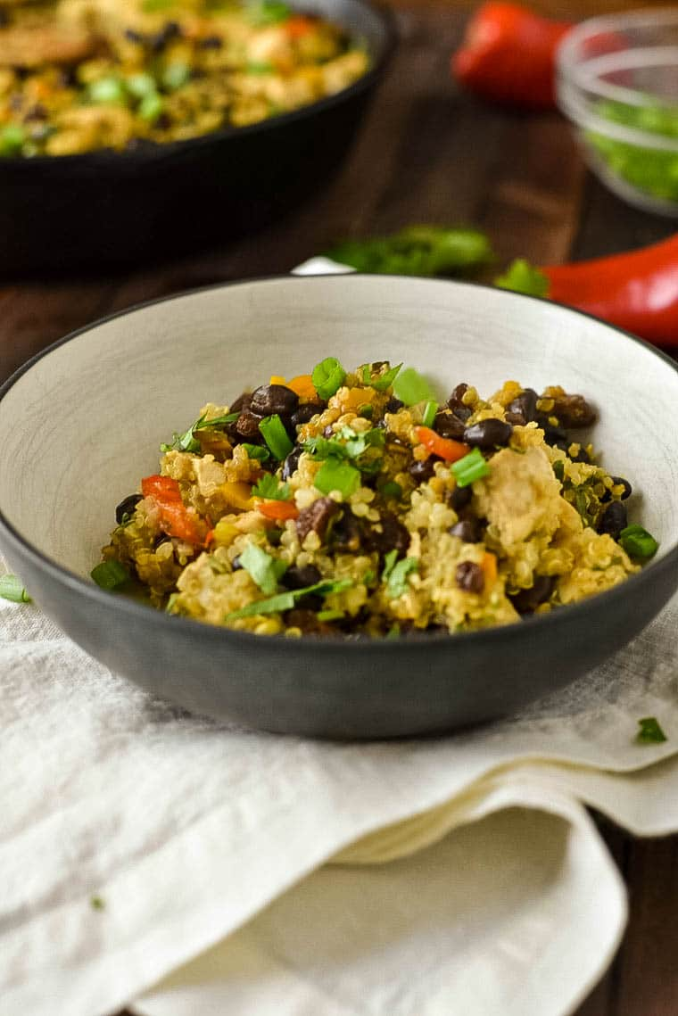Quinoa Casserole in bowl with chicken and beans