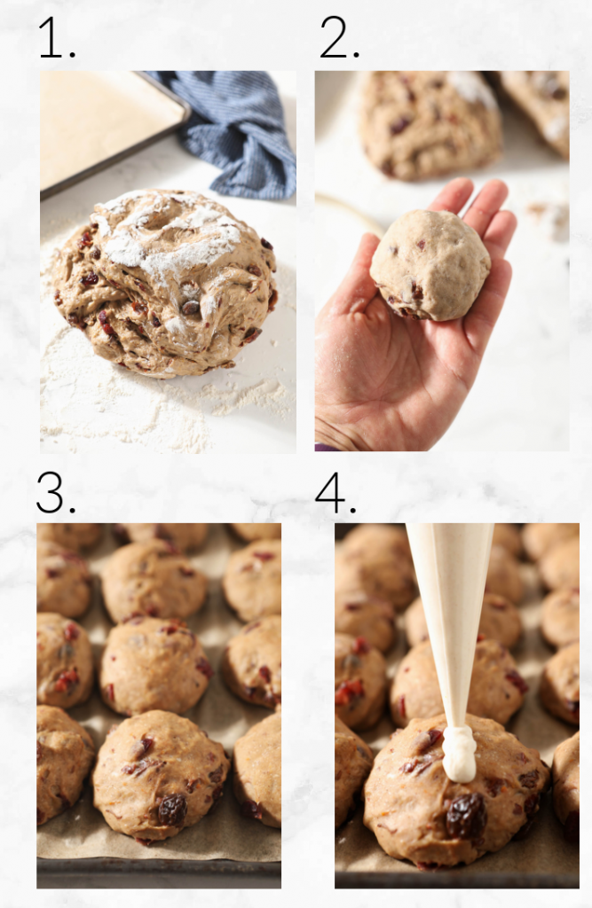 collage showing steps to shape hot cross buns