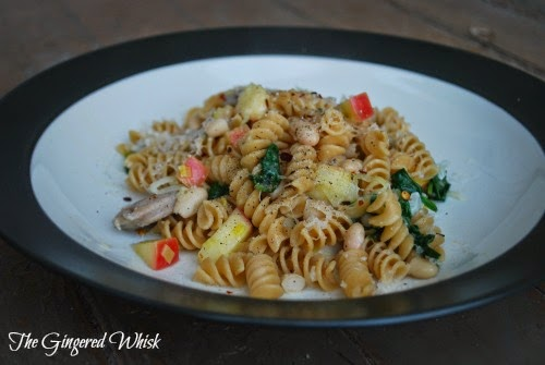 chicken sausage and apple pasta on plate