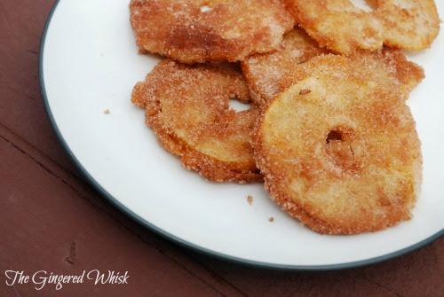 sourdough fried apple rings on plate