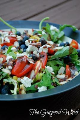 Summer Kale Salad with Blueberry Balsamic Vinaigrette (The Gingered Whisk)