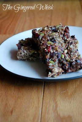 two homemade granola bars on plate