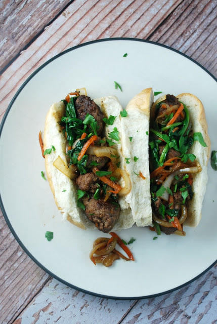 Skillet Asian Meatball Subs - an awesome 30 minute family friendly meal!