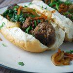 bahn mi meatballs in hoagie bun with veggies
