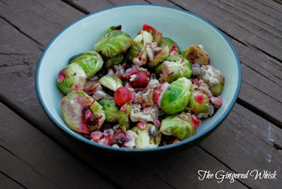 bowl of brussels sprouts with cranberries