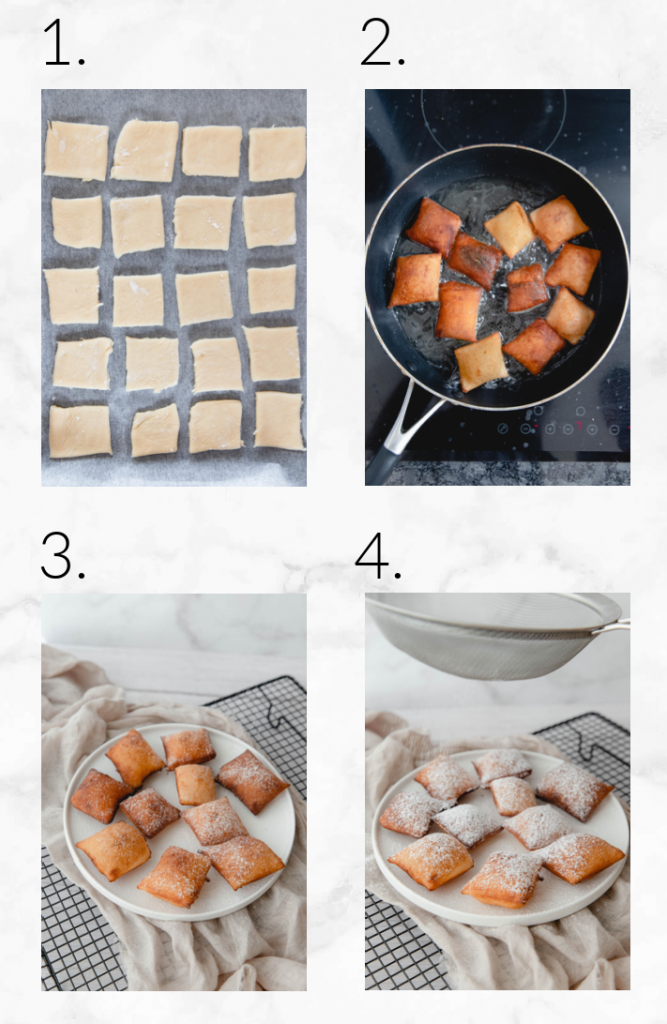 collage showing steps to fry beignets