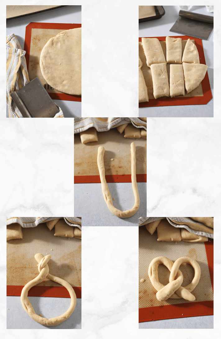 collage showing how to shape pretzels