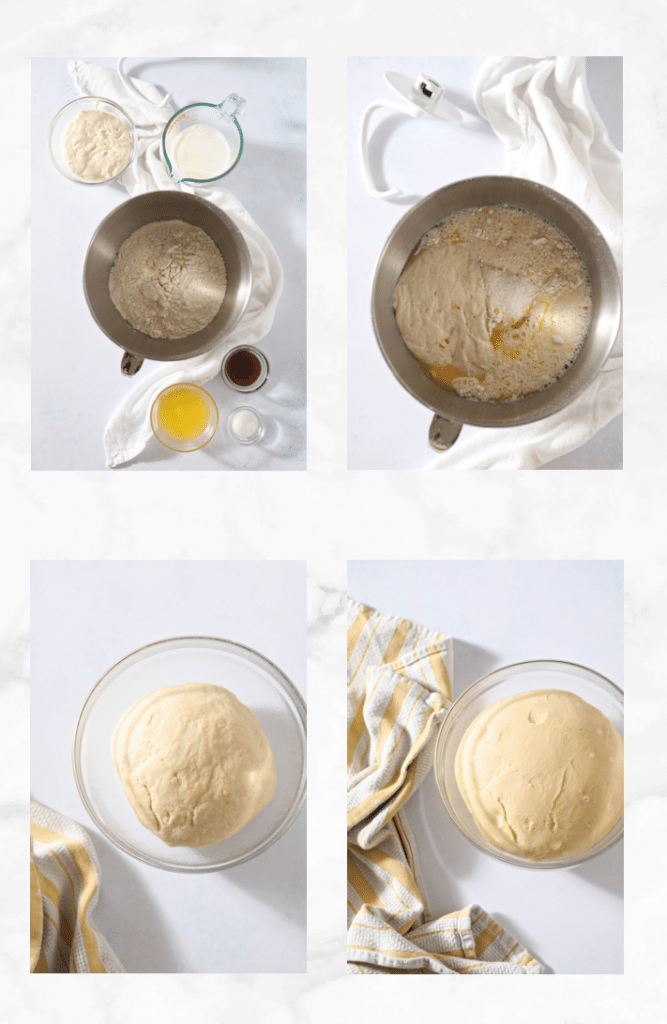 collage showing how to mix sourdough pretzel dough