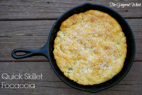 Quick Skillet Focaccia (The Gingered Whisk)