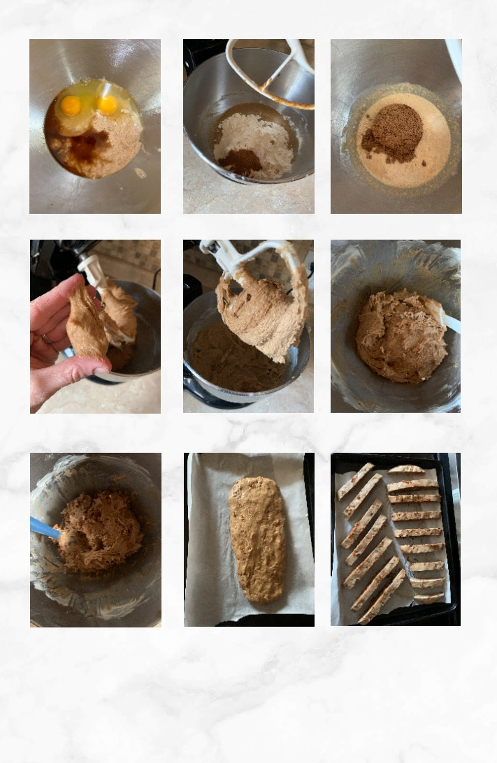 collage showing steps to make sourdough biscotti