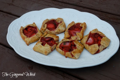 6 strawberry galettes on white plate