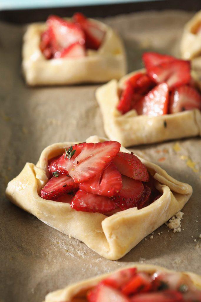 freshly assembled strawberry galette