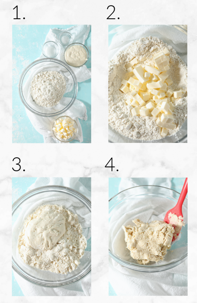 collage showing steps to make sourdough pastry crust