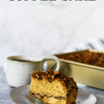 sourdough coffee cake on plate with recipe name text overlay for pinterest