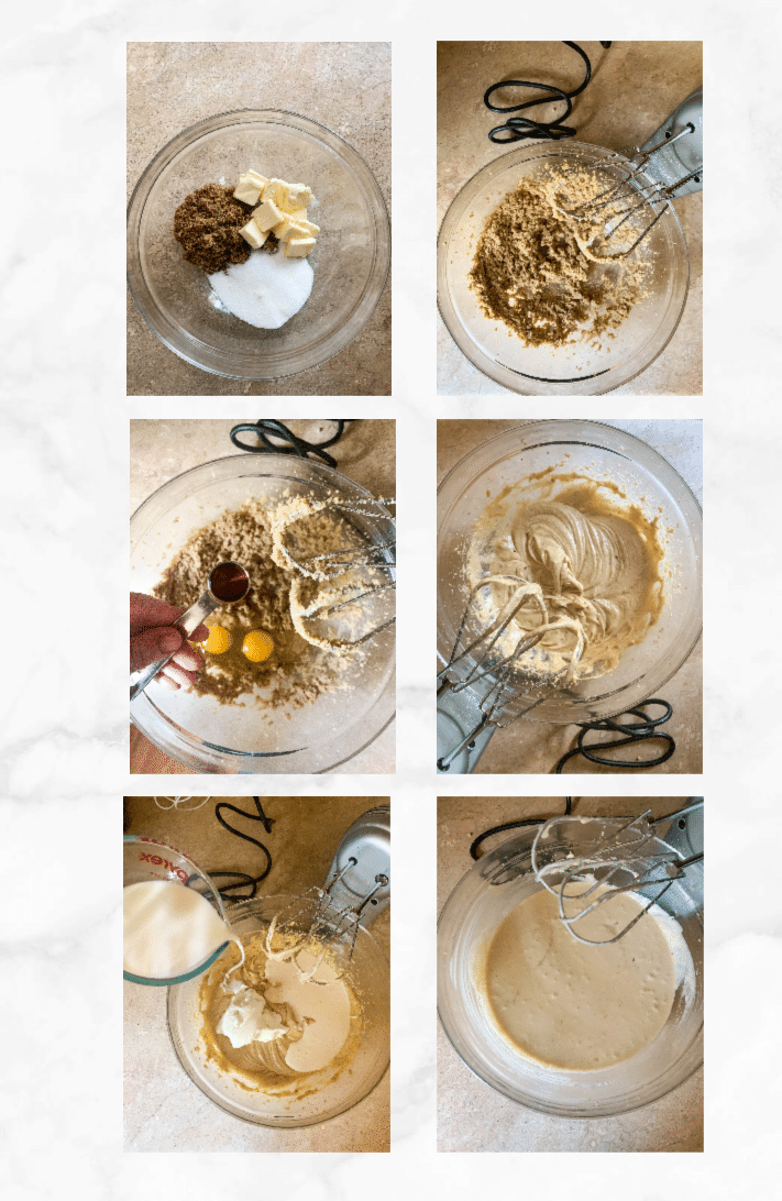 collage showing steps to make sourdough coffee cake batter