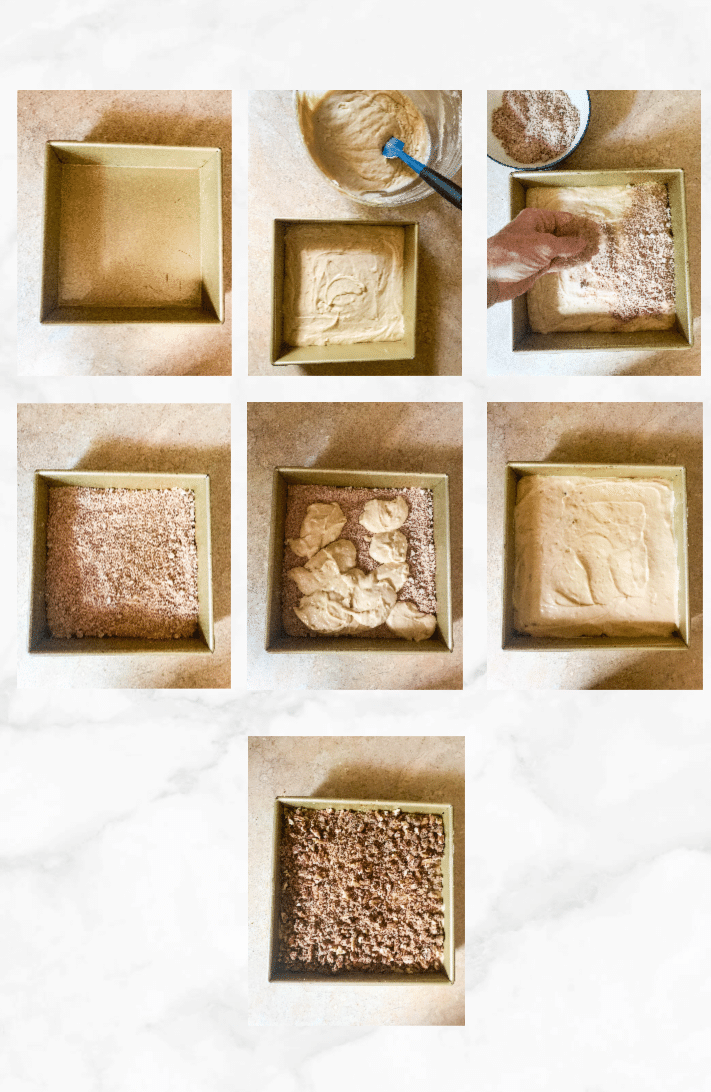 collage to show how to assemble sourdough coffee cake