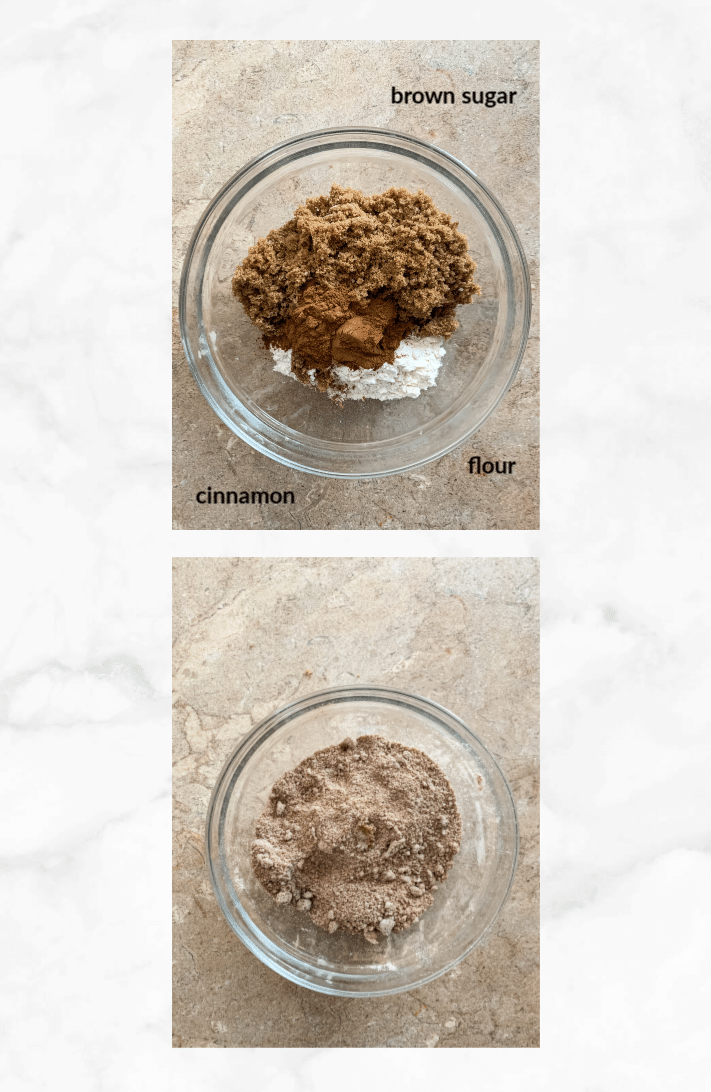 collage showing steps to make cinnamon filling for coffee cake