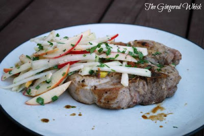 Pork Chops with Apple-Kohlrabi Slaw (The Gingered Whisk)
