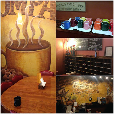 collage showing inside of small town coffee shop
