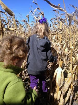 girls walking in corn field