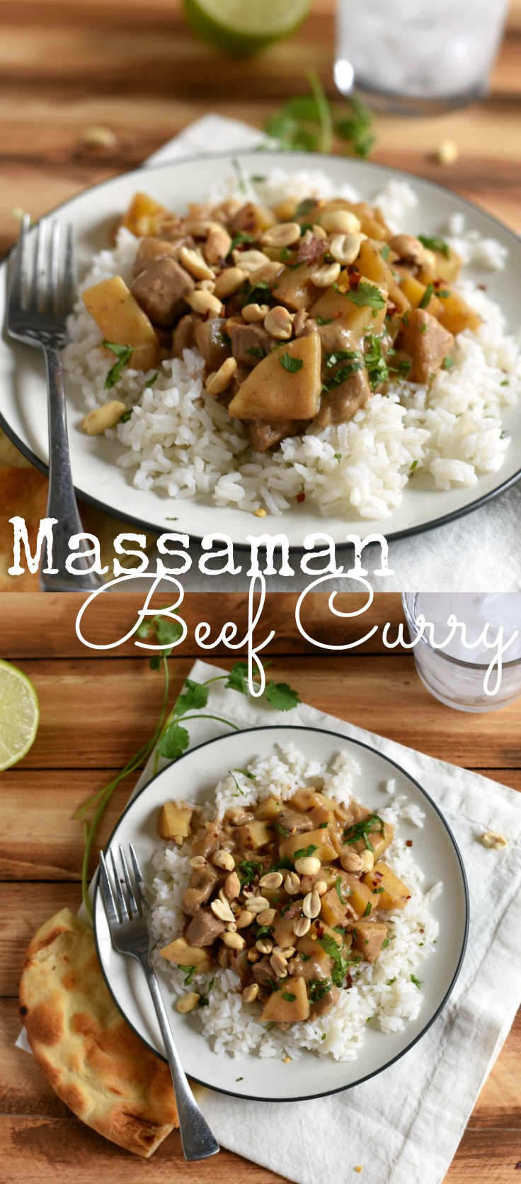Massaman Beef Curry is easy & flavorful (not spicy) dish the whole family will love! The sauce is made from coconut milk & peanut butter!