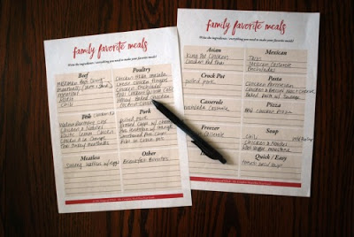 meal planning pages on table with pen
