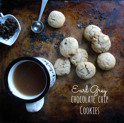 chocolate chip cookies next to earl grey tea