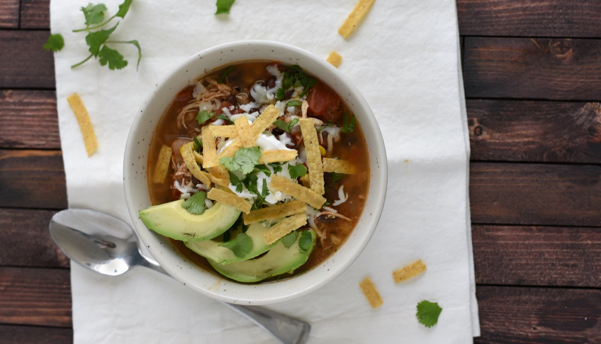 Crock Pot Chicken Enchilada Soup - The Gingered Whisk