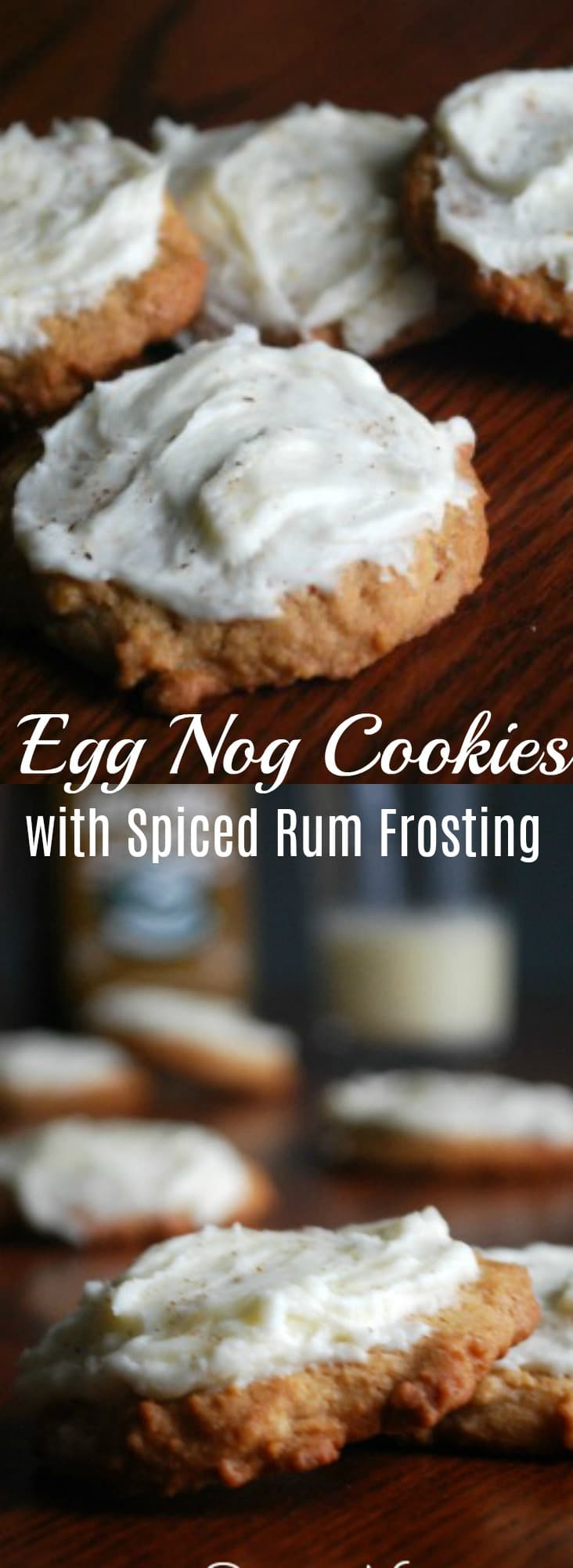 Egg Nog Cookies with Spiced Rum Frosting - These egg nog cookie cookies are delicately soft and chewy and will seriously melt in your mouth with a slightly spiced frosting you could eat with a spoon.  Christmas Cookies, Cookie Recipe, Egg Nog Cookies,