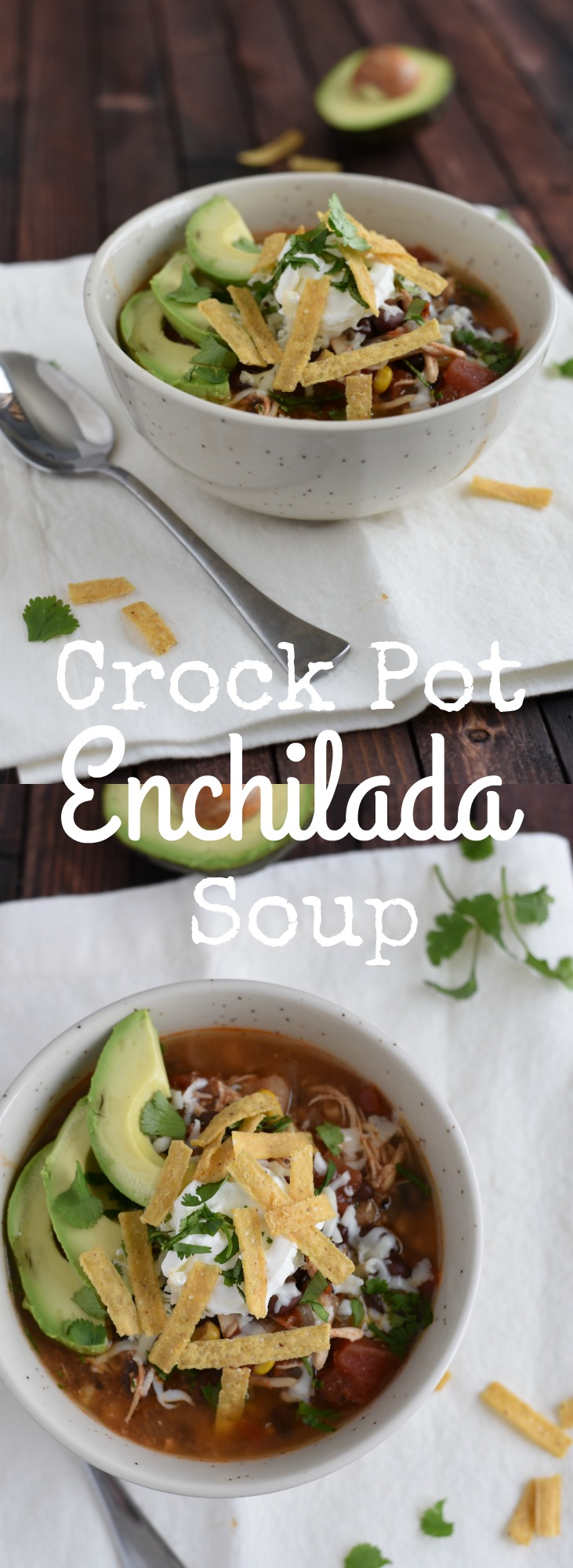 Dinner can't get easier than this slow cooker chicken enchilada soup - literal minutes of prep work, and amazing flavor! You won't believe how easy this is!